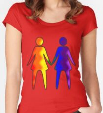 Wavy Rainbow Lesbian Couple #LGBT #Pride Women's Fitted Scoop T-Shirt