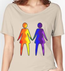 Wavy Rainbow Lesbian Couple #LGBT #Pride Women's Relaxed Fit T-Shirt