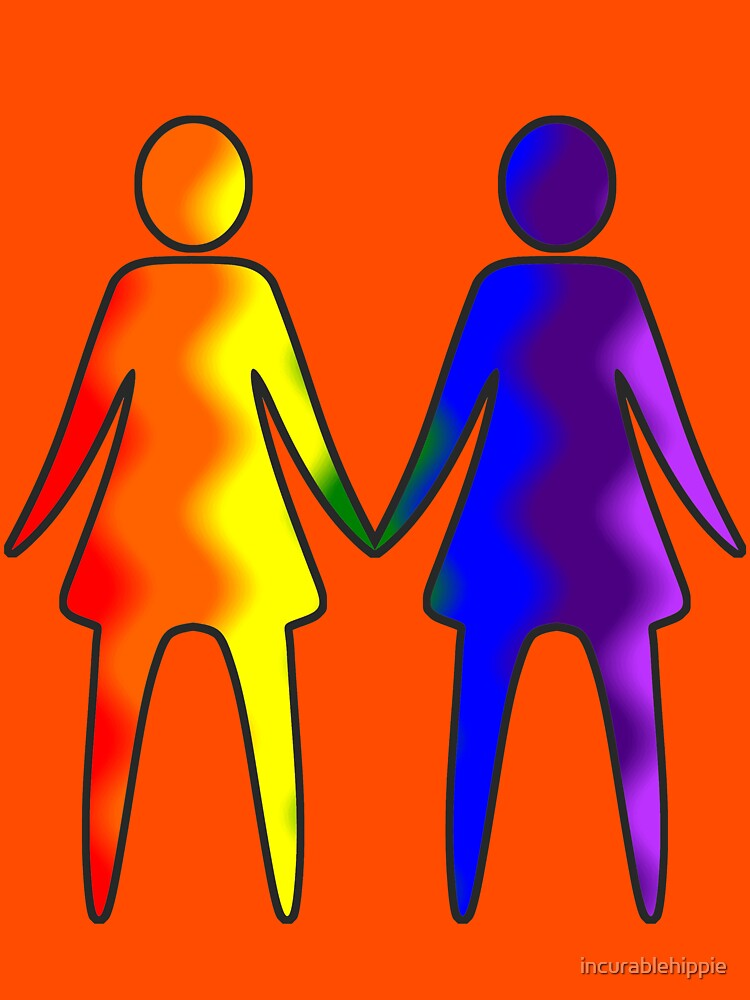 Wavy Rainbow Lesbian Couple #LGBT #Pride by incurablehippie