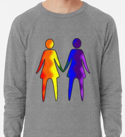 Wavy Rainbow Lesbian Couple #LGBT #Pride Lightweight Sweatshirt