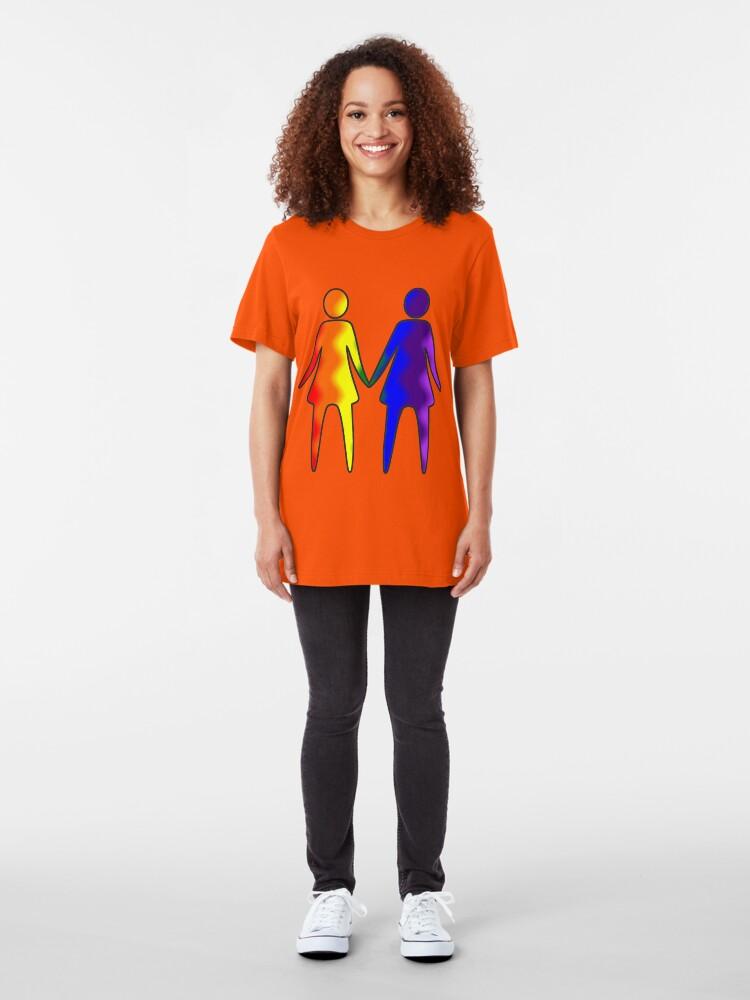 Alternate view of Wavy Rainbow Lesbian Couple #LGBT #Pride Slim Fit T-Shirt