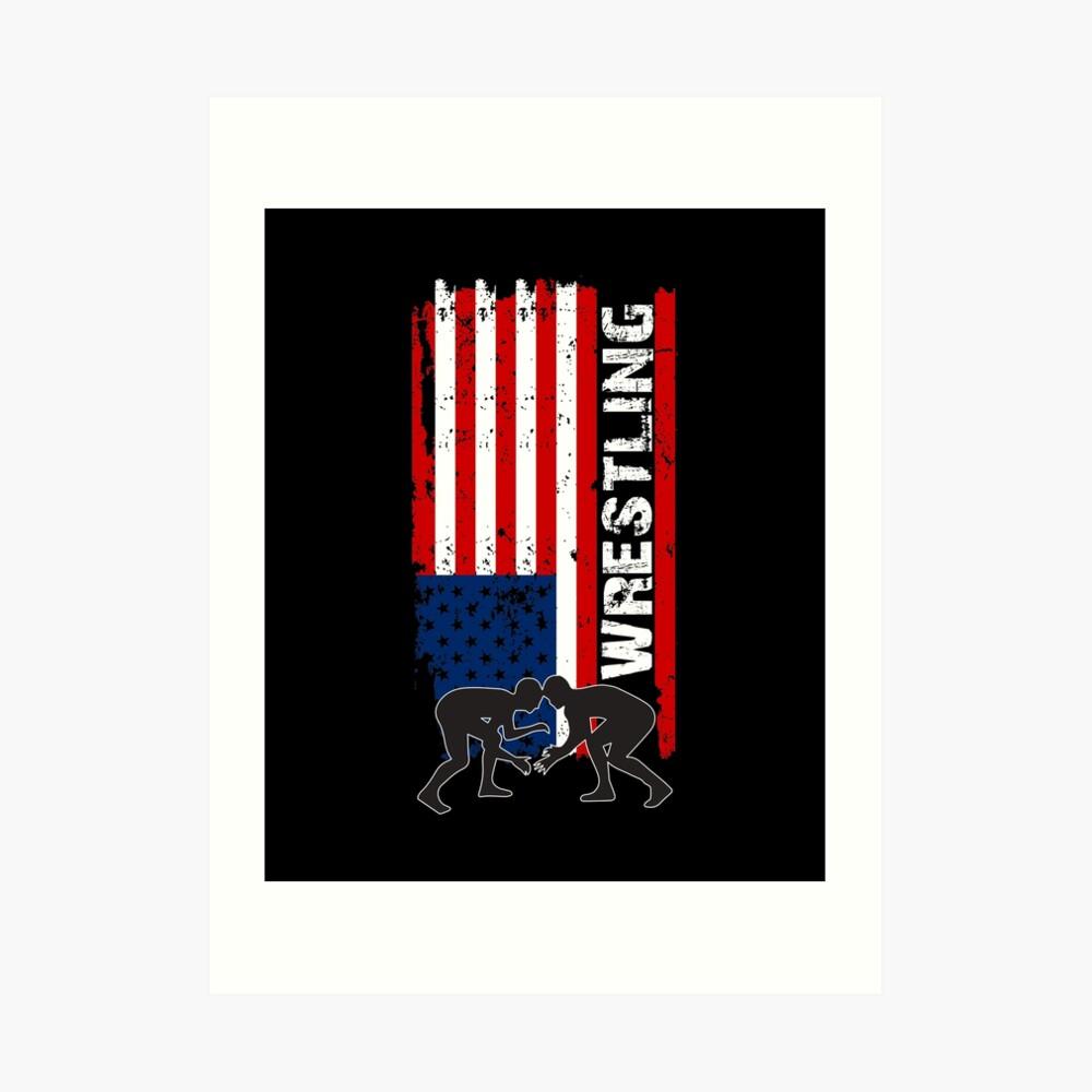 Camiseta de lucha de Amercian, camisa de lucha de la bandera de los EEUU, camiseta de lucha patriótica Lámina artística