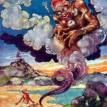 The Fisherman and the Genie - Arabian Nights, Rene Bull by forgottenbeauty