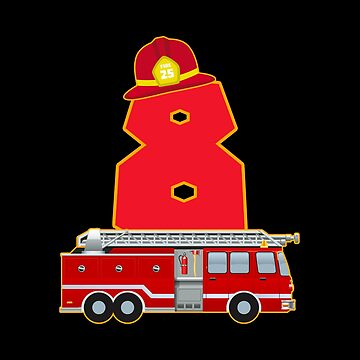 8th Birthday Fireman Firefighter Fire Truck Gift by NiceTeee