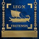Trireme Standard of the 10th Legion of the Strait - Blue Vexilloid of Legio X Fretensis by Serge Averbukh