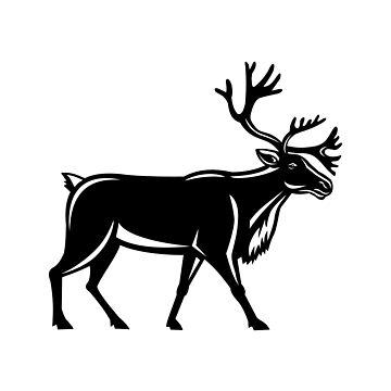 Caribou Walking Side Retro by patrimonio