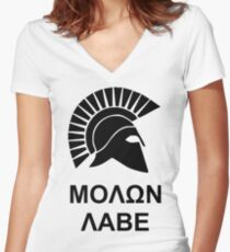 Molon Labe Women's Fitted V-Neck T-Shirt