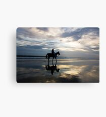 Horse riding on Birubi Beach Metal Print