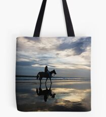 Horse riding on Birubi Beach Tote Bag