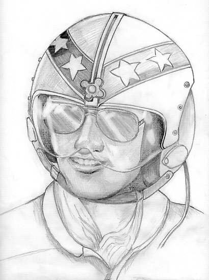 Top Gun 1980s, Pilot in pencil by Woodie