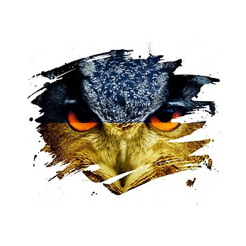 Ukraine Flag and Menacing Owl by ockshirts