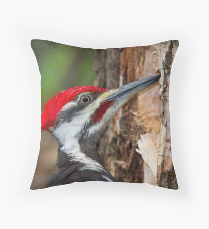 Pileated Portrait Throw Pillow
