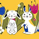 Spring with rabbits 1 by grafart