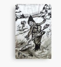 Snow Shoveling  Canvas Print