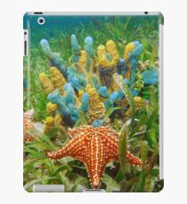 Underwater life with colorful sponges and a starfish iPad Case/Skin
