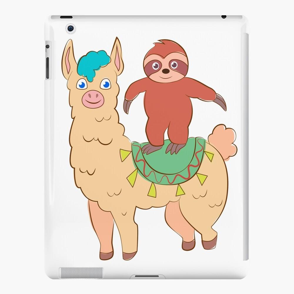 Funny Cartoon Images Of Boys cartoon sloth riding llama funny for kids girl, boys | ipad case & skin