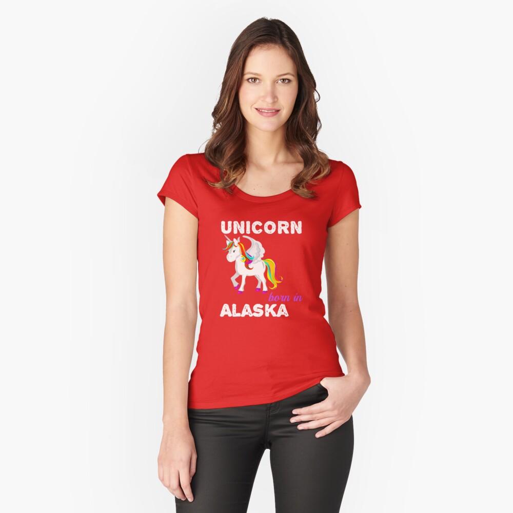 Einhorn in Alaska geboren Tailliertes Rundhals-Shirt