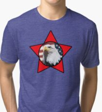 Bald Eagle & Red Star T-Shirt Tri-blend T-Shirt