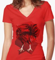 Big, Red Rooster with bg Women's Fitted V-Neck T-Shirt