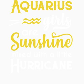 Aquarius Girls Are Sunshine Mixed With A Little Hurricane Zodiac Star Sign Birthday Horoscope Gift I by orangepieces