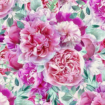Beautiful Lush Pink Peonies by CatyArte
