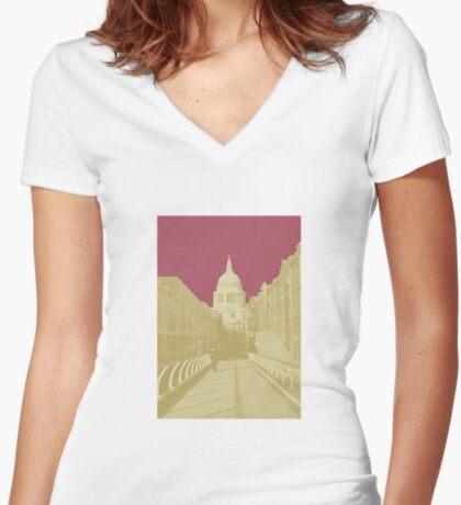 London Fruit Pop Series - Raspberry Saint Fitted V-Neck T-Shirt