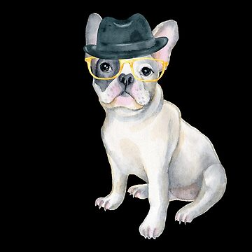 Frenchie French Bulldog Gangster Hat yellow glasses Dogs In Clothes by Vroomie