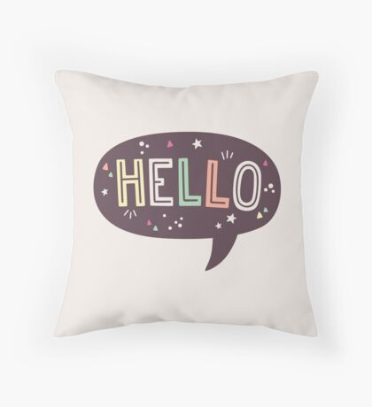 Hello Speech Bubble Typography Throw Pillow