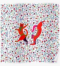 Chats dansant au milieu de fleurs printanières Poster
