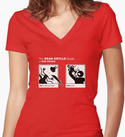 Man vs Lunch Women's Fitted V-Neck T-Shirt
