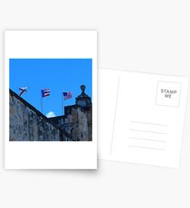 Puerto Rican and American Flag Postcards
