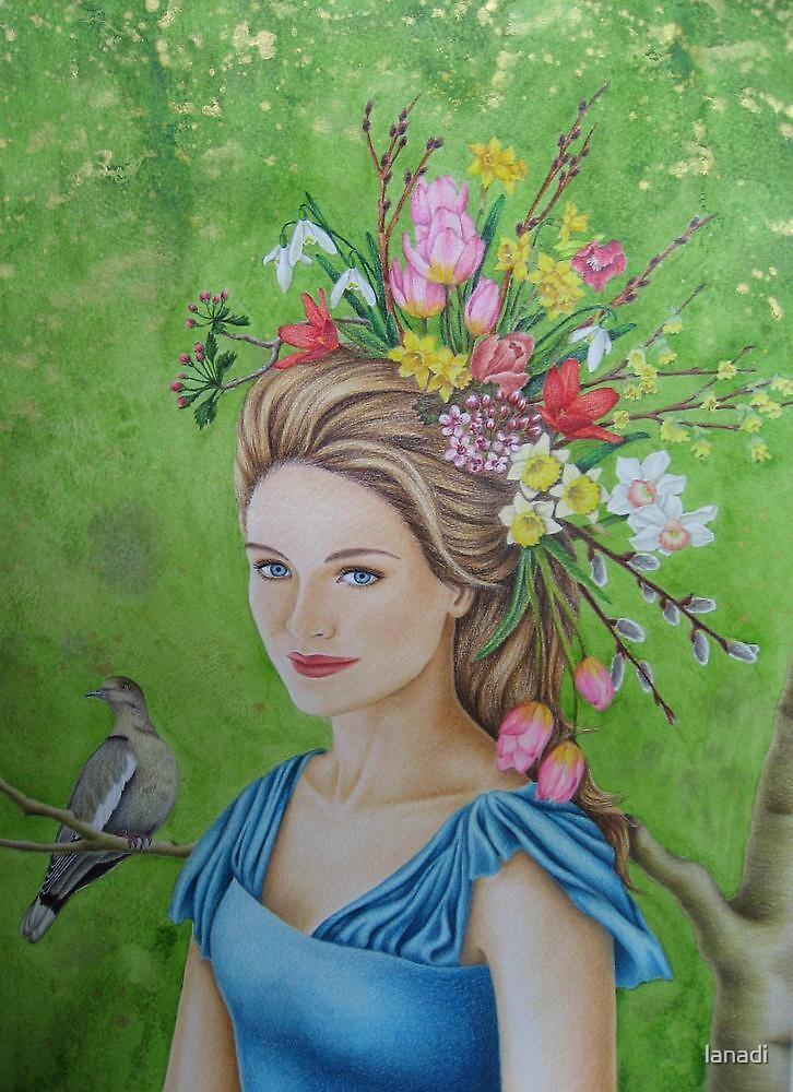Spring flowers in her hair by lanadi