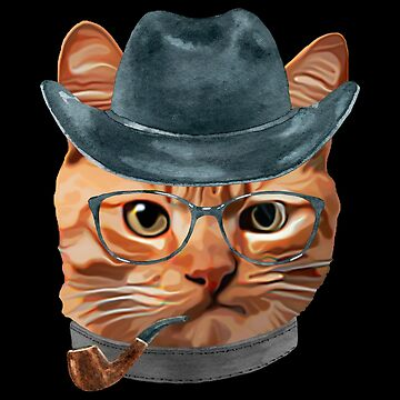 Cat Kitty Kitten In Clothes Glasses Cowboy Hat by Vroomie