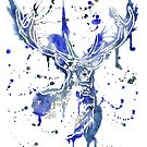 Icy White Blue Stag Head by Fiona Fletcher