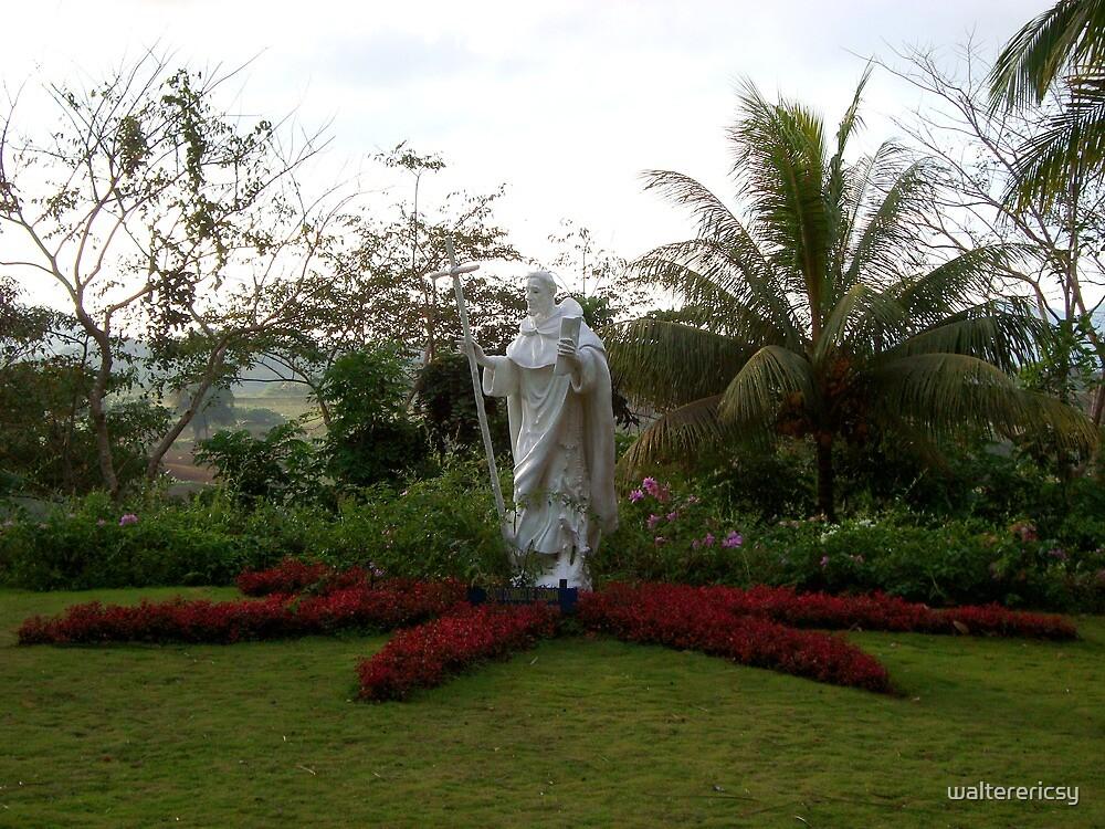 Caleruega church white statue (saint / priest) in Batangas, Philippines by walterericsy