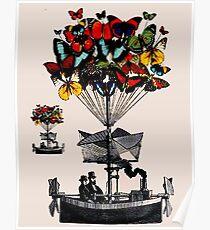 SCHMETTERLING-DAMPFBoot: Vintage Travel Print Poster