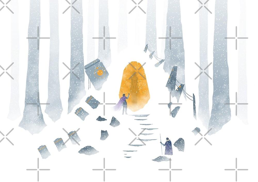 Fantasy art illustration - digital drawing - Snowy forest by zachholmbergart