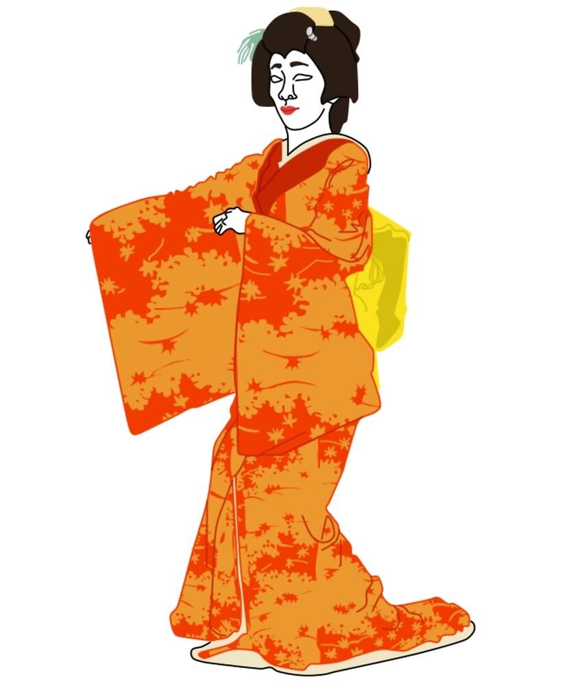 Fallen/Scattering Leaves Kimono Motif by KHRArts