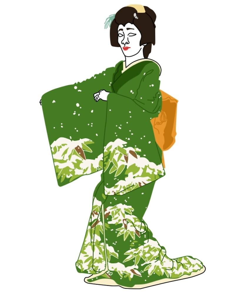 Winter Scenery Kimono Motif by KHRArts