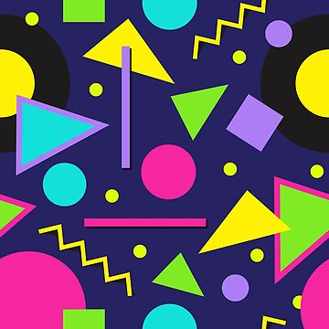 80s Themed Neon Shapes Memphis Style Pattern by HotHibiscus