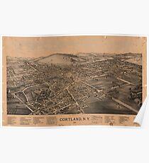 Panoramic Maps Cortland NY Poster