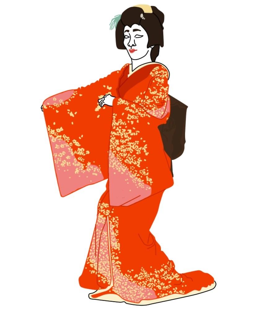 Peach Flowers Kimono Motif by KHRArts