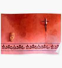 Mayan Mask and Catholic Cross Poster