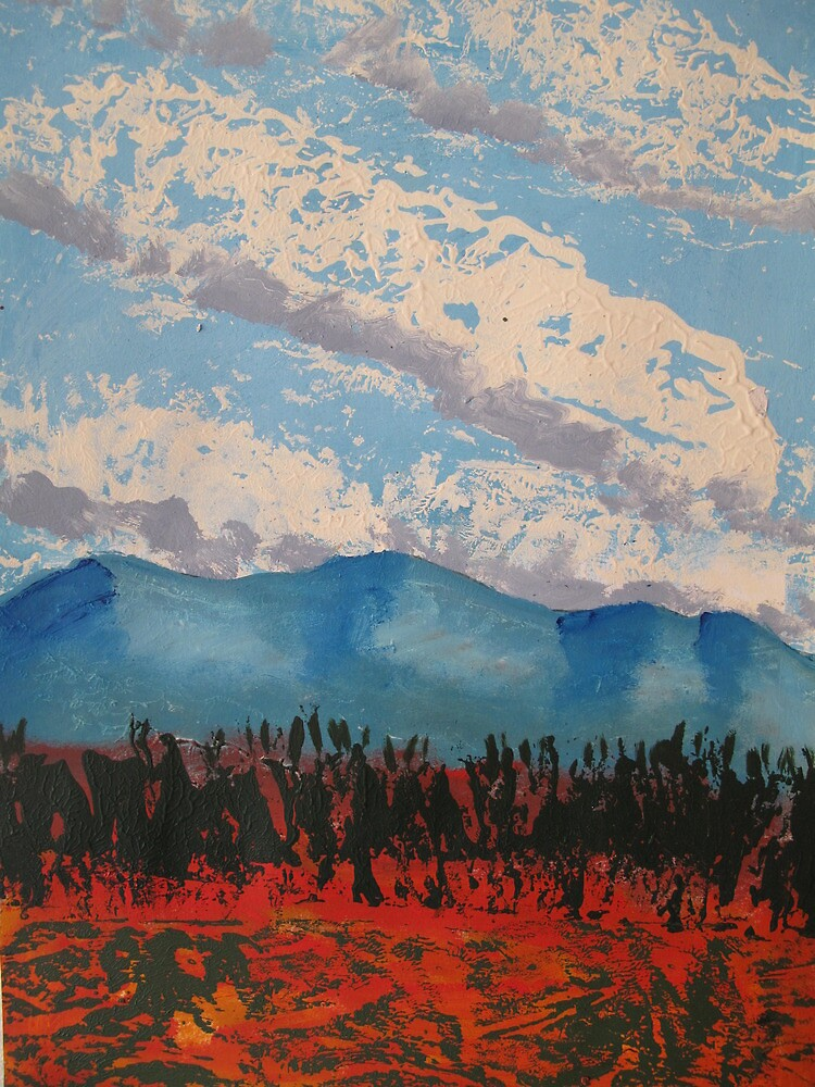 Red Earth Blue Sky in Acrylic by roza50