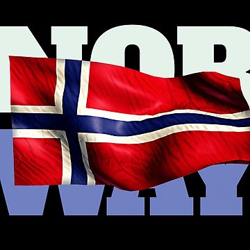 Norway Flag Snow Mountains Sea Typography Souvenir by peter2art