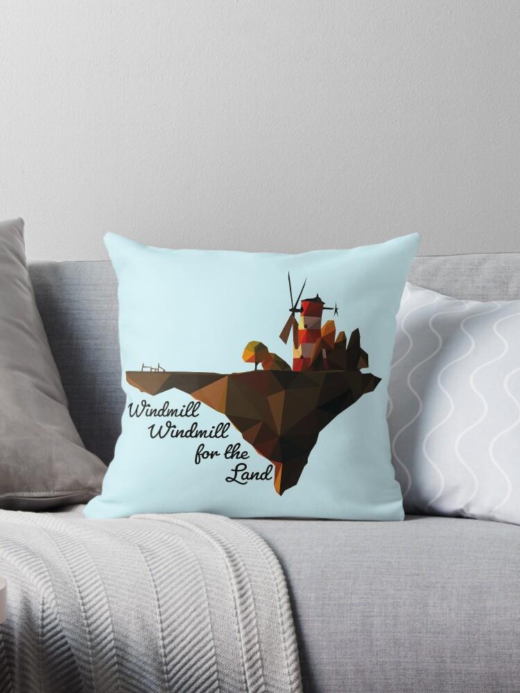 'Gorillaz Feel Good Inc  Windmill Island Poly-Art + Text 3' Throw Pillow by  MutsKunArtistry