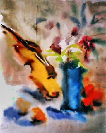 Violin, blue vase and oranges by Stella  Shube As