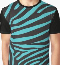 Zebra-Print in Schwarz und Türkis Grafik T-Shirt
