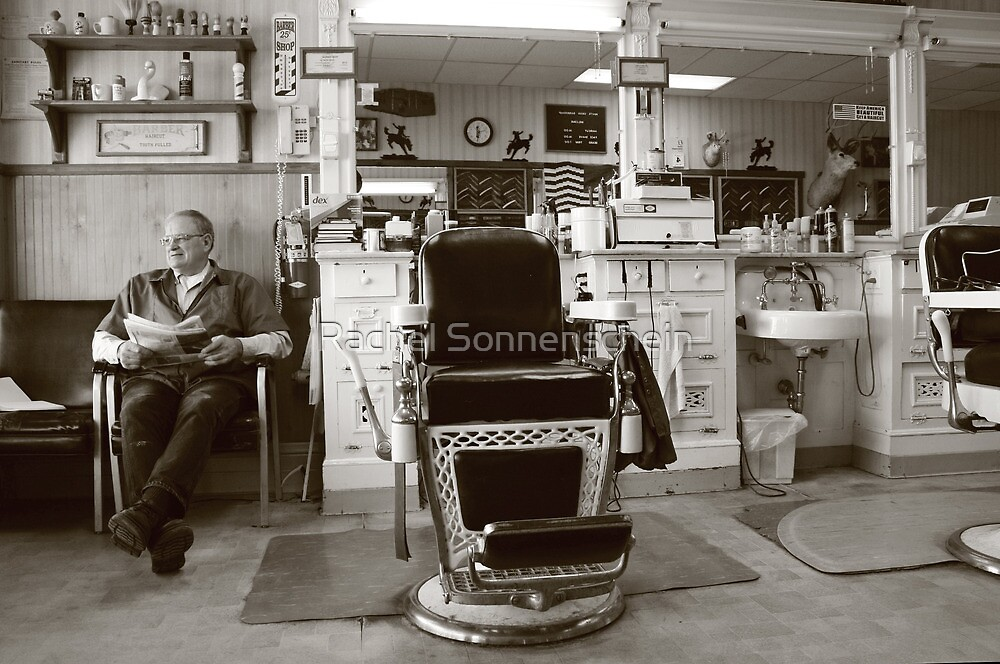 Small Town America VIII~The Barber on Main St. by Rachel Sonnenschein