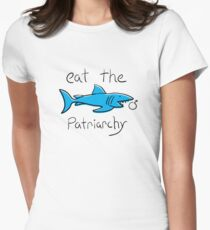 Eat The Patriarchy Feminist Shark Shirt Womens Fitted T-Shirt